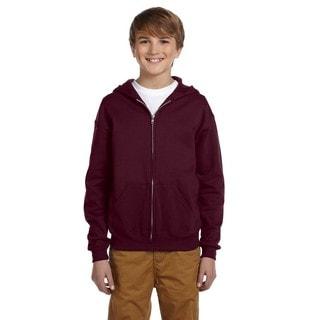 Boys' Maroon Cotton/Polyester Nublend Full-zip Hooded Sweatshirt