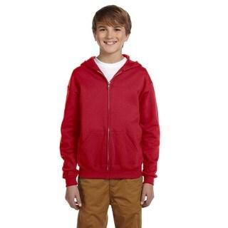 Nublend Boy's Cotton/Polyester True Red Full-zip Hooded Sweatshirt