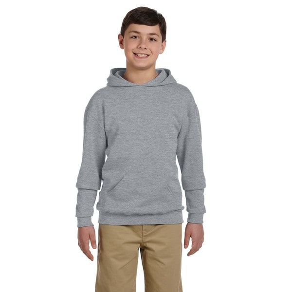 Nublend Boys' Athletic Heather Grey Cotton and Polyester Hooded Pullover Sweatshirt
