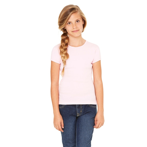 Girl's Pink Stretch Rib Short-sleeved T-shirt 19536233