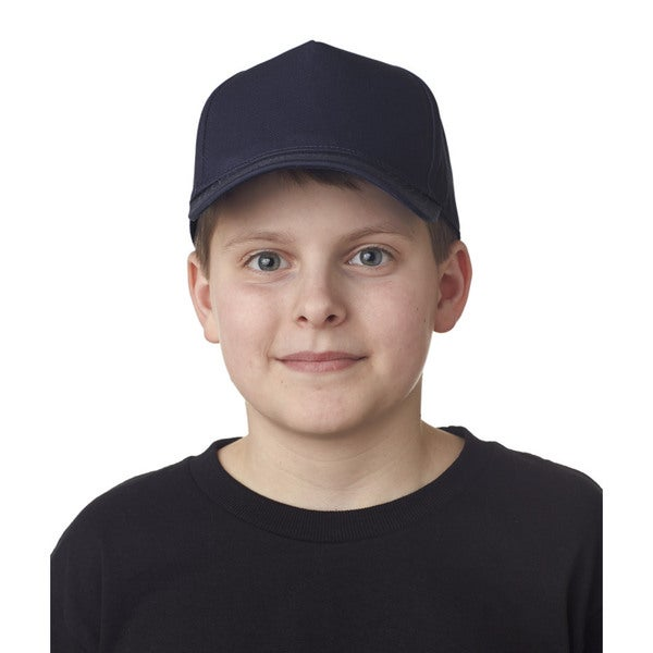Boys' Navy Cotton Twill One-size Classic Cut 5-panel Cap