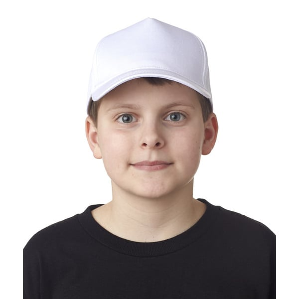 Classic Cut Boys White Cotton Twill 5-panel Cap