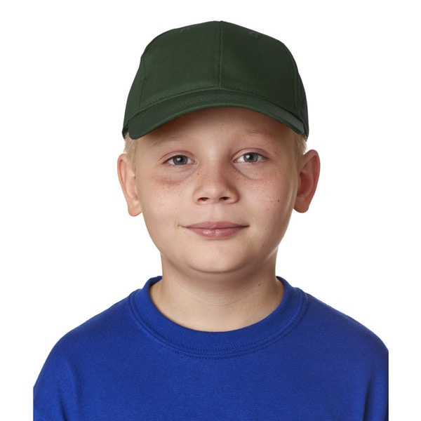 Boys Forest Green Cotton Twill Classic Cut 6-panel Cap (One Size Fits Most)