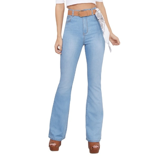 Minkpink Dangerous Blue Cotton/Spandex Bell Bottoms Flare Jeans