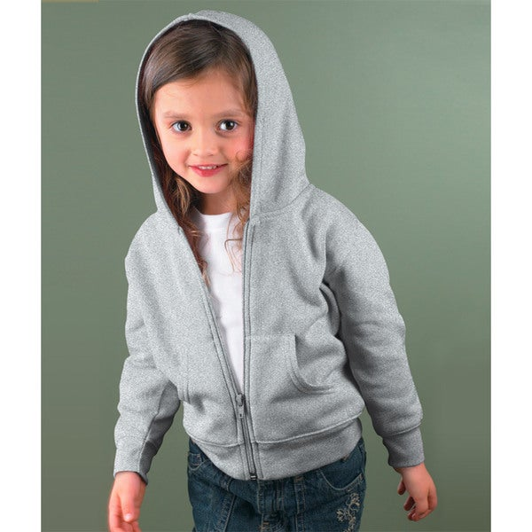 Boy's Heather Grey Full-zip Cotton-blended Hooded Sweatshirt