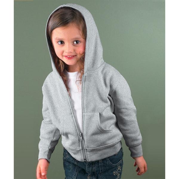 Boy's Heather Grey Full-zip Cotton-blended Hooded Sweatshirt
