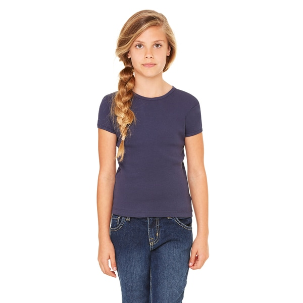Girls' Navy Blue Cotton Stretch Rib Short-sleeve T-shirt
