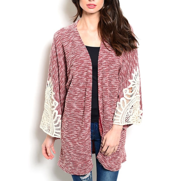JED Women's Cotton-blend Loose-fitting Knit Kimono Cardigan