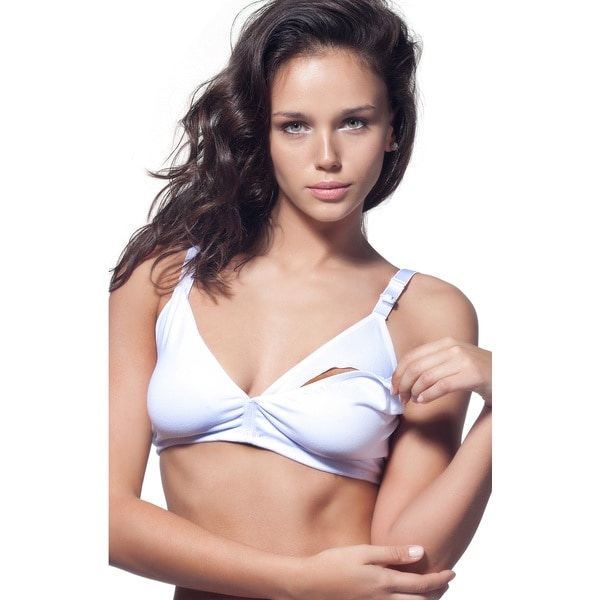 Miorre White Spandex Maternity Wireless Nursing Bra for Breastfeeding