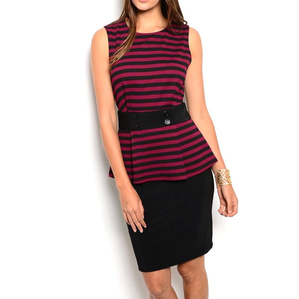 JED Women's Black/Pink Polyester/Spandex Sleeveless Striped Peplum Dress