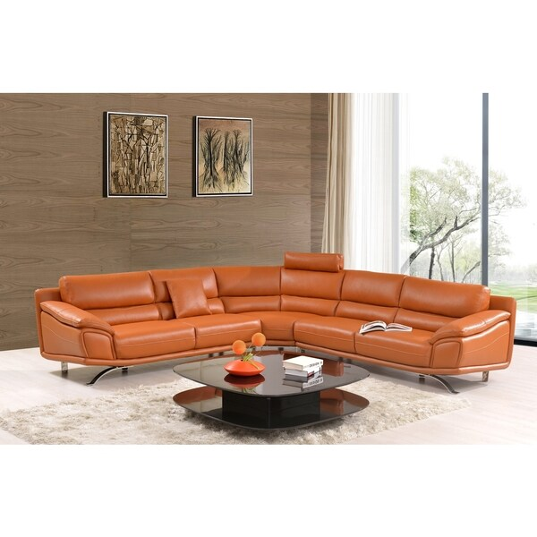 Luca Home Split Leather Orange Sectional Sofa