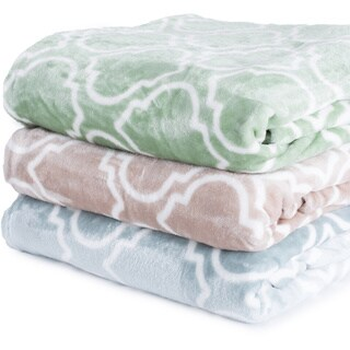 Home Fashion Designs Aloisia Ultra Velvet Plush Fleece Lattice Scroll Design Luxury Blanket