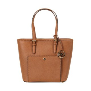 Michael Kors Luggage Brown Medium Jet Set Top-zip Snap Pocket Tote Bag