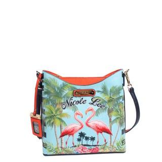 Nicole Lee Women's Multicolored Faux-leather and Nylon Tropical Flamingo-print Crossbody Handbag