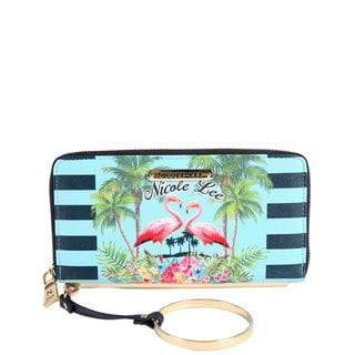 Nicole Lee Faux-leather and Nylon Tropical Flamingo Print Wallet