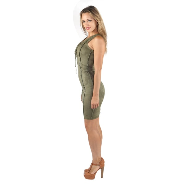 Wide Sleeveless Bodycon Criss Cross V-Neck Olive Midi Dress.