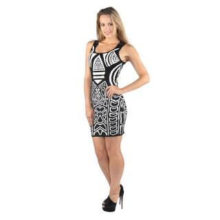 Hadari Woman Black Geometric Print Mid Round Neckline Sleeveless Hourglass Mini Dress