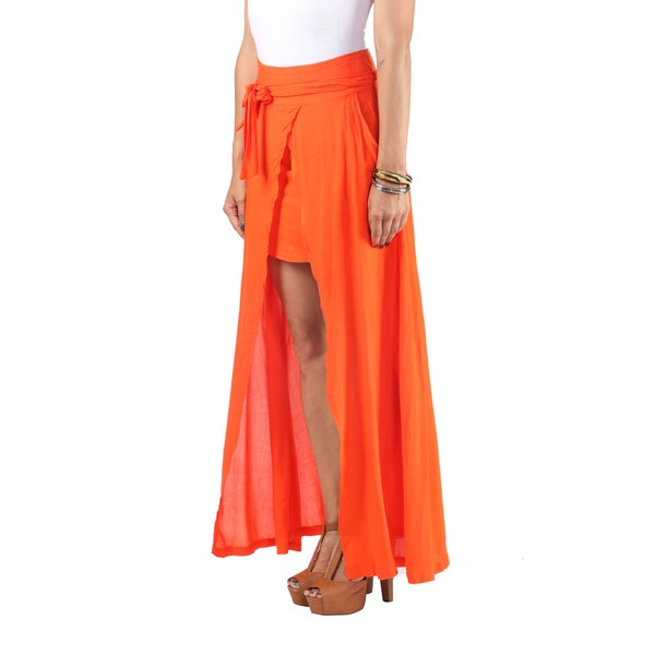Hadari Womens Blue Crepe Maxi Skirt. Triangular Slit Down Center And Wraparound Bow