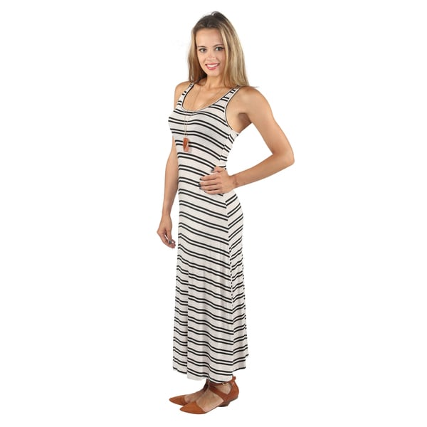 Hadari Womens Summer Ready Sleeveless Mid Round Neckline Black Stripe Maxi Dress