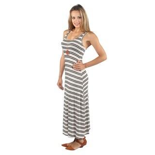 Hadari Womens Summer Ready Sleeveless Mid Round Neckline Black Stripe Maxi Dress