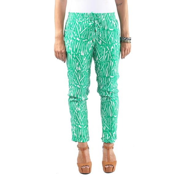 Hadari Womens Straight Leg Green Bamboo Patterned Ankle length Pants