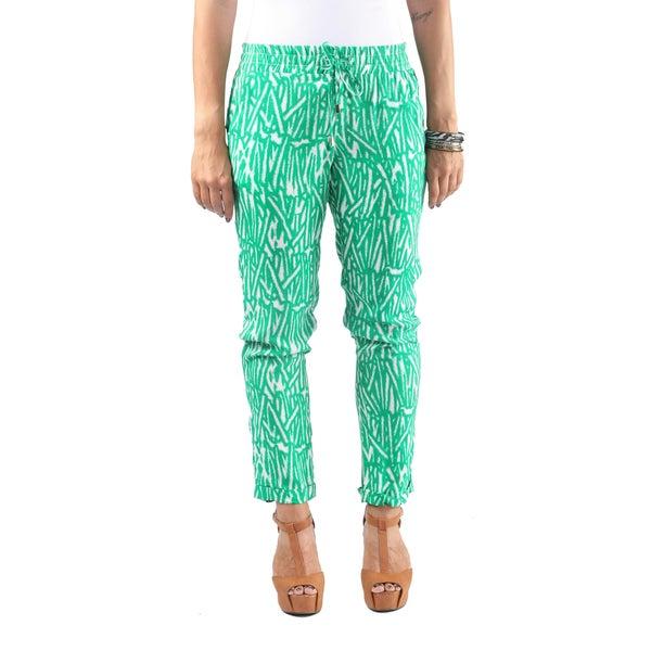 Hadari Womens Straight Leg Green Bamboo Patterned Ankle length Pants