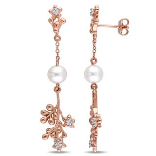 Laura Ashley Rose Plated Sterling Silver White Sapphire and Freshwater Cultured Pearl Floral Branch Earrings