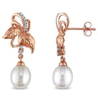 Laura Ashley 10k Rose Gold 1/10ct TDW Diamond & White Freshwater Cultured Pearl Earrings (8 - 8.5 mm) (G-H, I2-I3)