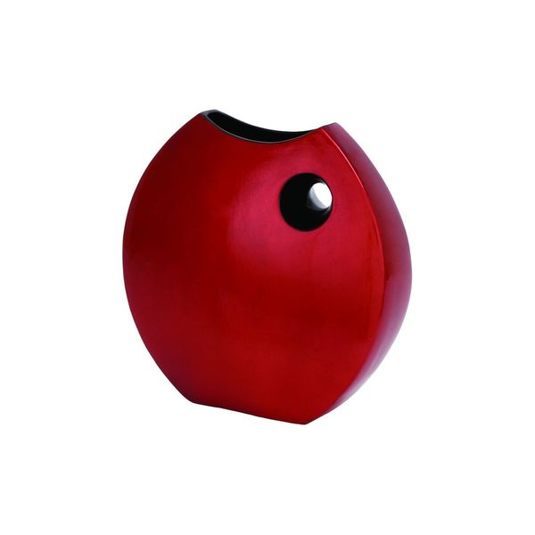Contemporary Red Ceramic Lacquer 14-inch Cut-out Vase