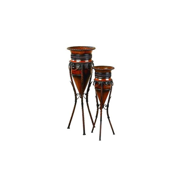 Set of 2 Metal Vases with Stands