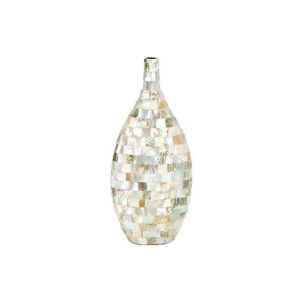 White/Silver Ceramic Capiz Inlay Vase