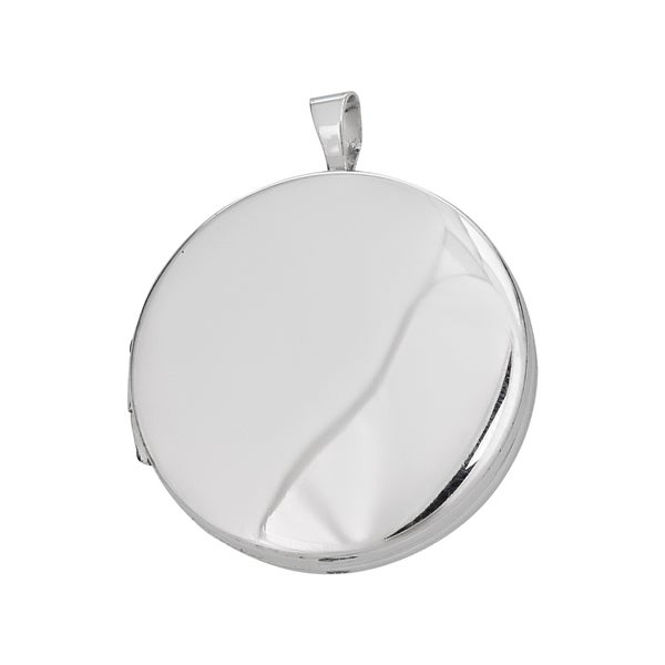 Decadence Sterling Silver Rhodium High Polished and Satin Reversible 22mm Round Locket Pendant