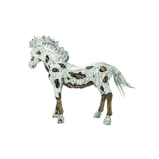 Silver/Brown Wood/Alumnimum 70-inches High x 90-inches Wide Horse Statue