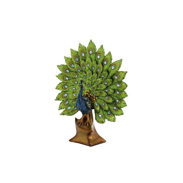 Blue and Green Resin Peacock Figurine 19540113