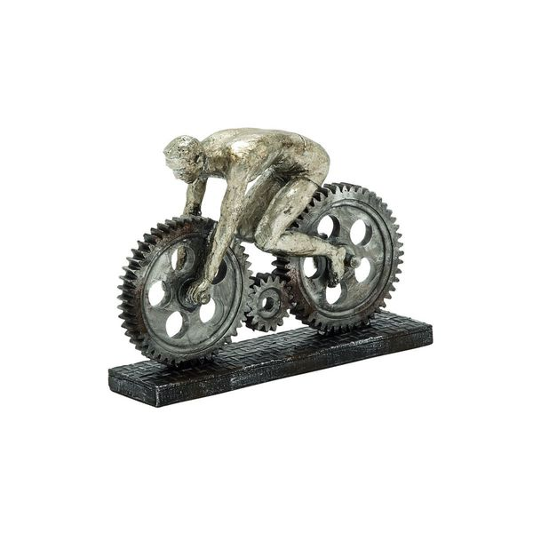 Grey Polystone 8-inche Gear Wheel Riding Sculpture