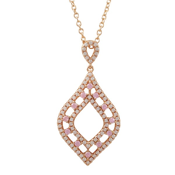 Luxiro Rose Gold Finish Sterling Silver Pink Cubic Zirconia Teardrop Pendant Necklace