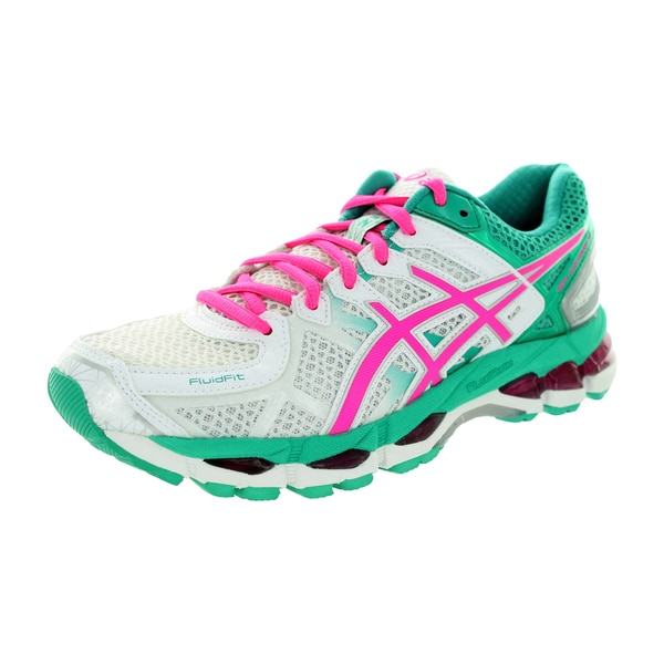 Asics Women's Gel-Kayano 21 White/Hot Pink/Emerald Running Shoe