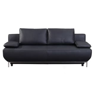 Cassino Black Leather Sofa Bed