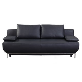 Cassino black leather sofa bed 19026168 for Sofa bed overstock