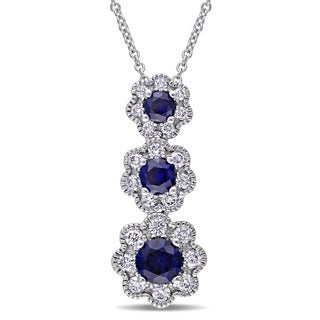 Laura Ashley 10k White Gold 3/8ct TDW Diamond and Created Blue Sapphire 3-Drop Flower Necklace (G-H, I2-I3)