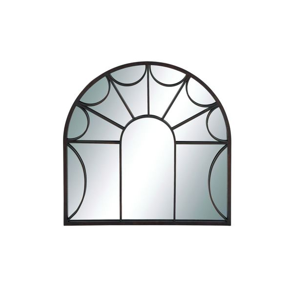 Black Wrought Iron Arched Windowpane Wall Mirror