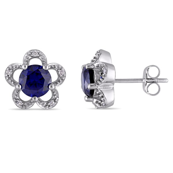 Laura Ashley 10k White Gold Diamond Accent and Created Blue Sapphire Flower Stud Earrings