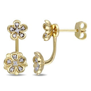 Laura Ashley Yellow Plated Sterling Silver 1/8ct TDW Diamond Stud Flower 2-piece Earrings (G-H, I2-I3)
