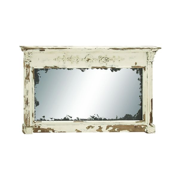 Farmhouse Cream Wood Wall Mirror