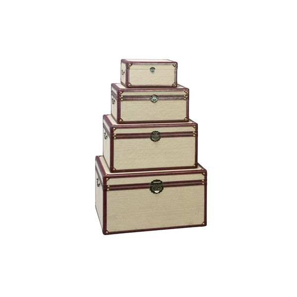 Wood/Burlap 14-inch/19-inch/23-inch/27-inch Trunks (Pack of 4)