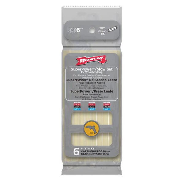 Arrow Fastener SS6 Slow Set Glue Sticks 12-count
