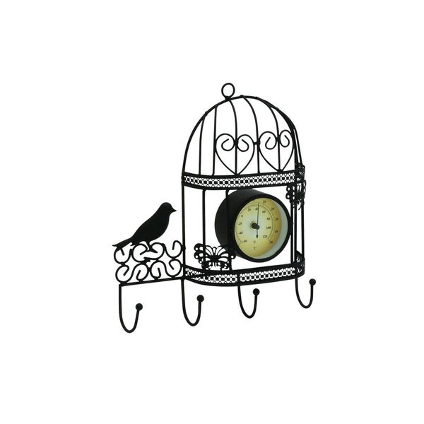 Black Iron 12-inch Birdcage Wall Thermometer