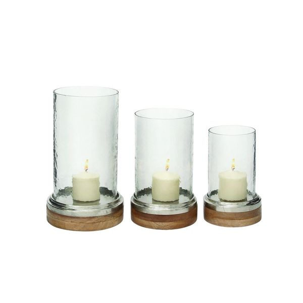 Glass Metal Wood Hurricane Candle Holders (Set of 3)