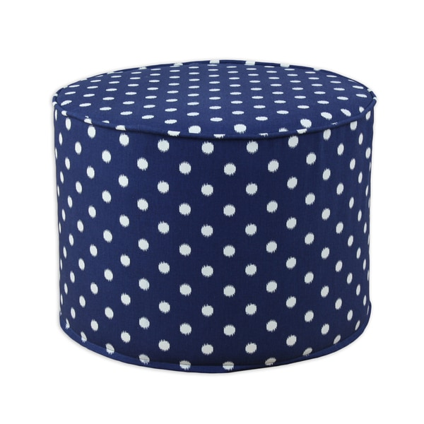 Ikat Dot Sunshine Blue-Natural Round Corded Foam Ottoman