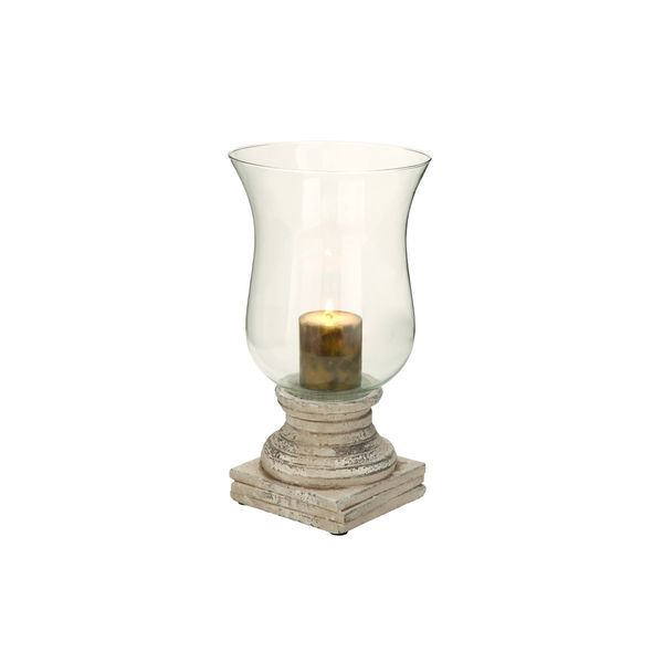 Grey/Brown Ceramic Hurricane Lamp-style Candle Holder